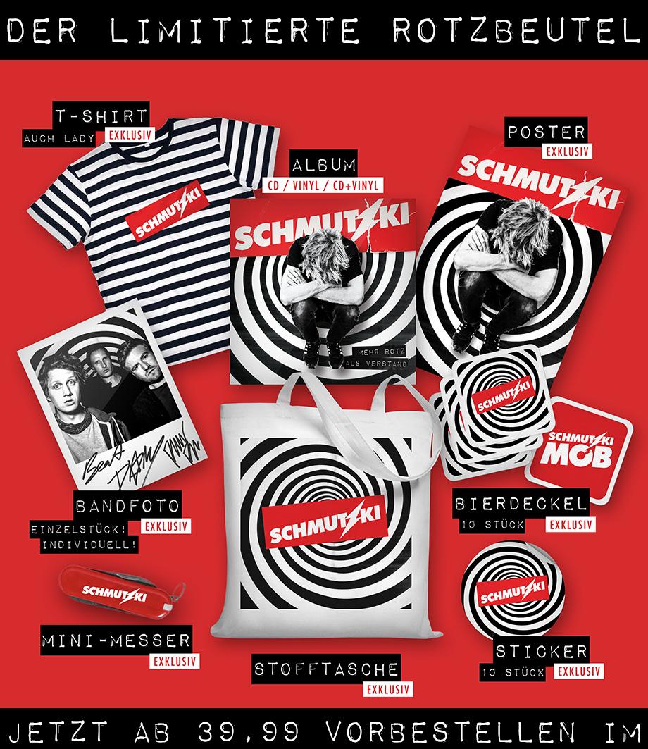 Der limitierte Rotzbeutel: Album, Poster, T-Shirt, Bandfoto, Bierdeckel, Mini-Messer, Stofftasche, Sticker für 39,99 € vorbestellen